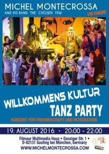 Willkommens-Kultur-Tanz-Party-Konzert-Plakat